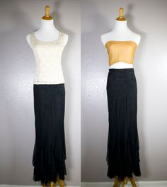 Black Mermaid Fishtail Pencil Evening Skirt// Full by clothandlace, $35.00