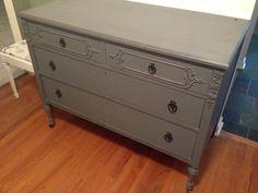Grey Distressed Dresser. See more at: facebook.com/lunarosedesigns