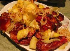 GÓBÉHAMI: Tepsis csülök Hungarian Recipes, Hungarian Food, Beef, Chicken, Red Peppers, Meat, Hungarian Cuisine, Steak, Cubs