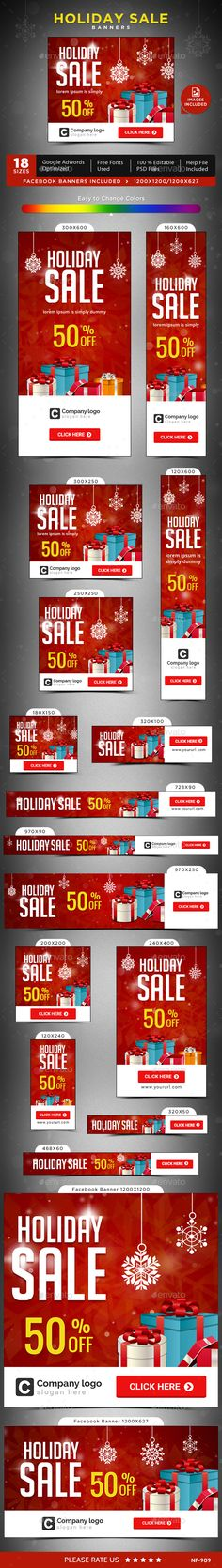 Holiday Sale Web Banners Templates PSD #design #ads Download…