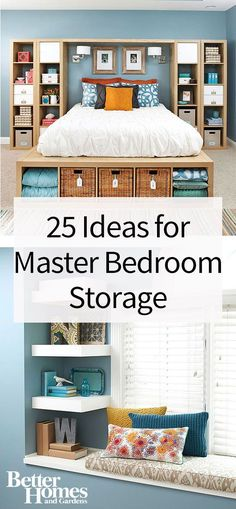Declutter your master bedroom by adding some extra storage. These stylish and savvy storage ideas are great for organizing your shoes, clothes, accessories and little trinkets that might be sitting around. Have a cleaner and more organized master bedroom by employing a few of these storage ideas, including under the bed storage and wall shelving.