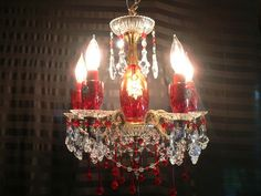 Petite Vintage Brass Chandelier Ruby Red Bohemian Art Glass Crystals Gorgeous | eBay