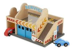 Amazon.com: Melissa & Doug Service Station Parking Garage With 2 Wooden Cars and Drive-Thru Car Wash: Toys & Games
