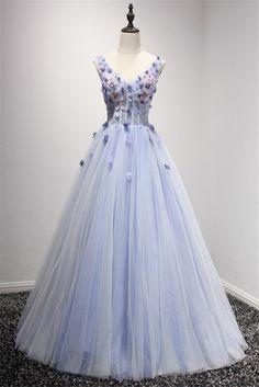 Chic Princess V Neck Corset Back Lanvender Tulle Flower Prom Dress Prom Dresses For Sale, Beautiful Prom Dresses, Formal Dresses, Lavender Prom Dresses, Tulle Flowers, Corset, Ball Gowns, V Neck, Princess