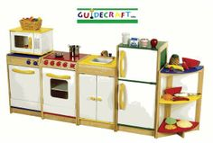 Guidecraft is known for it's exceptionally well designed play kitchens, and we have the entire line. We also carry their complete line of wooden and plastic play food for the best possible kitchen learning and play. Teach your children about food, nutrition, table and kitchen etiquette, cooking and more with these durable wooden play kitchens. They will provide years of learning and fun.