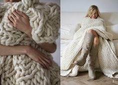 form follows function: Chunky blanket, dusty pink!
