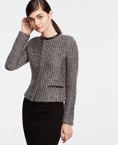Image of Faux Leather Trim Tweed Jacket