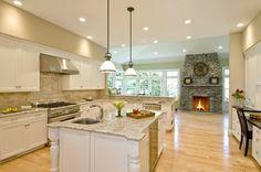Bianco Romano Granite Spacious Painted And Glazed Kitchen And Bath    Eclectic   Kitchen   Boston   Metropolitan Cabinets U0026 Countertops