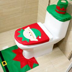 Christmas Toilet Seat Cover and Rug Set for Christmas Decoration Bathroom (Green)