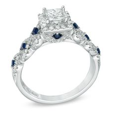 Vera Wang LOVE Collection 1 CT. T.W. Diamond and Blue Sapphire Engagement Ring in 14K White Gold - View All Rings - Zales
