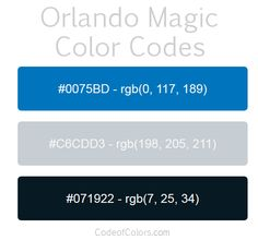 Orlando Magic Team Color Codes