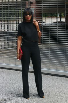 DIY high waist pants and cropped high low top