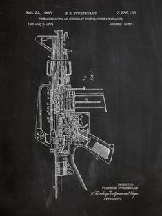 M16 Gun Patent Poster 18x24 Screen Print  by InkedandScreened