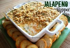 Jalapeno Popper Dip!  This is a hit at every party...  be sure to bring a copy of the recipe along because people will ask for it!