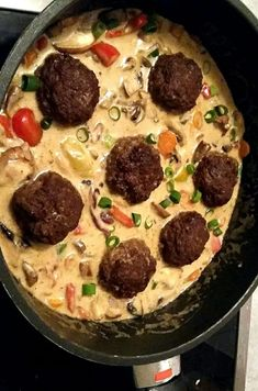 Meatballs in vegetables Cream sauce with rice - Kochrezepte - Seafood Recipes, Appetizer Recipes, Snack Recipes, Dessert Recipes, Sauce A La Creme, Meatballs And Rice, Best Pancake Recipe, Albondigas, Recipes