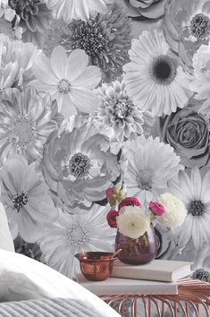 The voluptuous blossoms of this wallpaper are just as energetic and bright in their black-grey-silver variation. In fact, they are given a magical . Vinyl Wallpaper, Metallic Wallpaper, Luxury Wallpaper, Bathroom Wallpaper, Color Combinations, Color Schemes, Wall Treatments, Glass Vase, Decoration