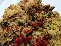 Chicken with Pomegranate and Walnuts - World Food Tour Grilled Flatbread, Bulgar Wheat, Bacon Wrapped Dates, Watermelon And Feta, Olive Salad, Shawarma, Coriander, Pomegranate, A Food