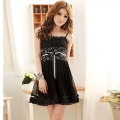 $9.16 Elegant Spaghetti Strap Lace High Elastic Waist Voile Dress For Women  For Court.
