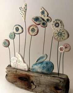 Ceramic Animals, Clay Animals, Pottery Sculpture, Sculpture Clay, Ceramic Flowers, Clay Flowers, Ceramics Projects, Clay Projects, Polymer Clay Crafts