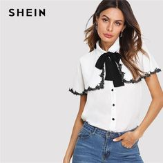 63ba8224db SHEIN Beige Elegant Office Lady Workwear Bow Tie Neck Womens Tops and Blouses  Shirt Women Lace Detail Cape Sleeve Blouse