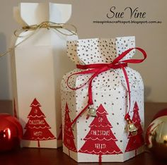 Peaceful Pines Treat Box | Miss Pinks Craft Spot:Sue Vine #stampinup #peacefulpines #giftbox
