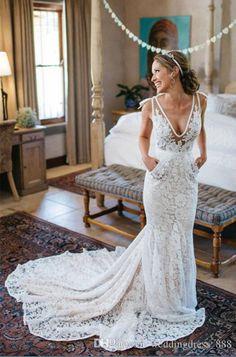 Compre Vestido De Boda Blanco / Marfil Del Cordón De La Sirena V Cuello Boho Vestido De Novia Nupcial Personalizado A $80.41 Del Weddingdress_888   Dhgate.Com