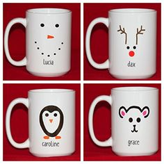 Items similar to Personalized Snowman Mug, Set of 4 to 7 - Christmas Kids Party Favors - Hostess Gift - Xmas Gifts for Kids - Reindeer Penguin Polar Bear on Etsy Personalized Christmas Mugs, Diy Christmas Mugs, Homemade Christmas, Kids Christmas, Mug Crafts, Sharpie Crafts, Sharpie Mugs, Xmas Gifts For Kids, Diy For Kids
