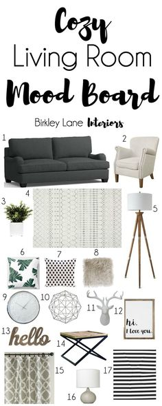 Looking for some new living room ideas? Click here and get inspired with this cozy living room mood board! Shopping list included! Neutral living room, grey living room, living room mood board, living room decor, living room ideas, living room, living room decor on a budget, living room mood board cozy, rustic living room , rustic mood board
