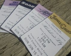 Fast Pass Save the Date with Returnable Preliminary RSVP for Destination Disney Wedding