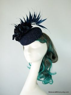 Navy Blue Hat Flowers Feather Fascinator Wedding Spring Racing Carnival Special Occasion Cocktail Hat Melbourne Cup Kentucky Derby Millinery Time In Australia, Spring Racing Carnival, Hat Flower, Metal Comb, Melbourne Cup, Cocktail Hat, Race Day, Kentucky Derby, Spring Wedding
