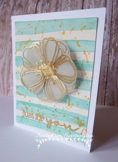 handcrafted card ...  water colored   background ... gold embossed vellum flower ...  Paperberry Lane ... gorgeous ...