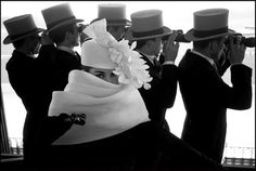 Givenchy hat at Longchamp horse track in 1958, Photography by Frank Horvat.