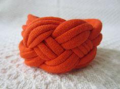 Bright Orange Sailor Knot / Celtic Knot Cuff Bracelet  by EcoBands, $6.00