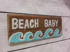 Beach Baby Hand Painted Rustic Wood Sign Reclaimed Wood Great for Boy or Girl Beach Nursery Room Decor. Free Shipping in The USA!