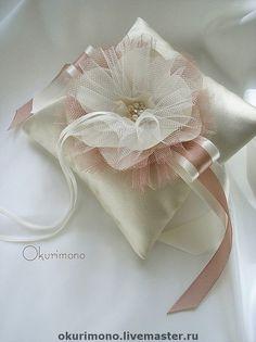 """Купить """"Жульет"""". Подушечка для колец - подушечка для колец, свадебная подушечка, подушечка, подушечка для загса, бежевый"""