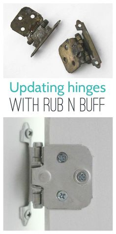 DIY Home Decor Inspiration : Illustration Description Updating hinges with Rub n Buff – such an easy way to quickly change the color of your hinges or other hardware. -Read More – Rub N Buff, Kitchen Cabinets Hinges, Diy Cabinets, Cabinet Doors, Cleaning Cabinets, Yellow Cabinets, Painting Oak Cabinets, Diy Kitchen Remodel, Kitchen Remodeling