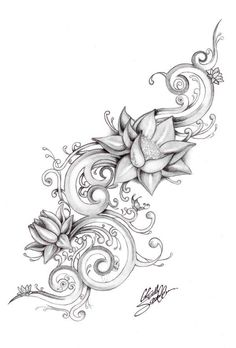 Lotus Flower Drawings For Tattoos | lotus river by ~Gsaw on deviantART