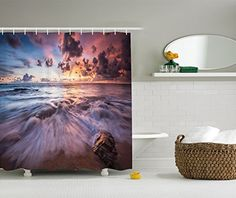 Ambesonne Seaside Decor Collection Sea Waves Rocks Dramatic Colorful Clouds on the Beach at Sunset Seascape Picture Polyester Fabric Bathroom Shower Curtain Marble Blue Peach Grey >>> Click image to review more details.