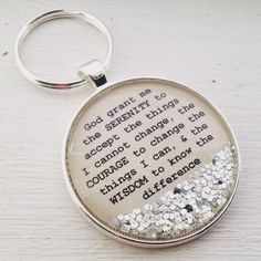 Serenity prayer keychain, sobriety keychain, sobriety gift for women, recovery gift, recovery birthd Sobriety Gifts, Serenity Prayer, How To Make Necklaces, Christian Gifts, Inspirational Gifts, Graduation Gifts, Gifts For Women, Birthday Gifts, Great Gifts