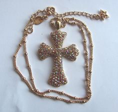 Vintage Kirks Folly Jeweled Cross on Gold by VintageVogueTreasure, $48.00