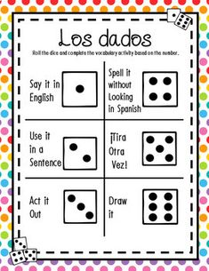 Dice Game Bundle for ANY Verb Tense or Vocabulary Spanish Vocabulary Games, Verb Tenses, Dice Games, Sentences, Board Games, Sayings, Frases, Lyrics, Tabletop Games