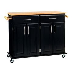Home Styles Dolly Madison Kitchen Island Cart - Black/natural