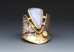 Ring | Marne Ryan. Boulder Opal, natural yellow diamond, 22 &24k gold, sterling silver. #opalsaustralia