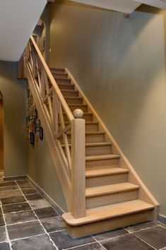 Pin by Tamra Carpenter Outland on Stairway to Home in 2020 Wooden Staircase Railing, Rustic Staircase, Stair Railing Design, Oak Stairs, Staircase Railings, Basement Stairs, Stairways, Farmhouse Stairs, Home Design Plans
