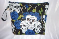 MAKE UP BLUE SKULL ROSE  BRUSH PURSE DOLLY BAG HANDBAG MAKE UP GOTHIC REM DESIGN