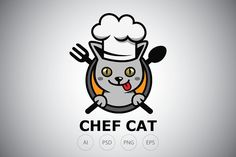 Chef Grey Cat Logo Template by Heavtryq Design on Badge Template, Logo Templates, Logo Gato, Chef Logo, Minimal Logo, Grey Cats, Logo Design, Branding, Illustration
