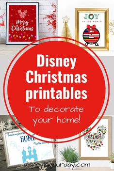 Looking for an easy way to add some Disney magic to your home for the holidays? Check out these adorable Disney Christmas printables! (And get one download for free!). Disney Christmas printables are the perfect way to add some Disney decor this season. Disney On A Budget, Disney Home, Disney Diy, Disney Crafts, Disney Magic, Disney Christmas Decorations, Disney Christmas Shirts, Disney World Christmas, Mickey's Very Merry Christmas