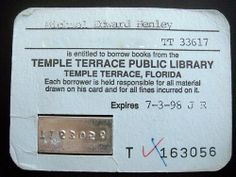 My 1st library card looked like this with a metal plate of my card number to emboss the library's record of my checked-out books