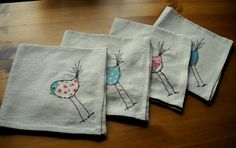 Bird design machine embroidered linen napkins set of four Shabby Chic table linen table decorations eco friendly  home textiles on Etsy, $33.68