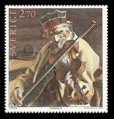 """Czeslaw Slania: Fiddler (painting of Anders Zorn)  The Robert Stolz Trophy"""" - The most beautiful music stamp of the year 1984"""
